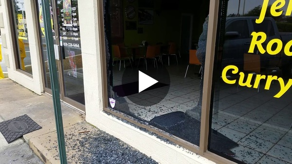 Window smashed at Bamboo's Jamaican Restaurant