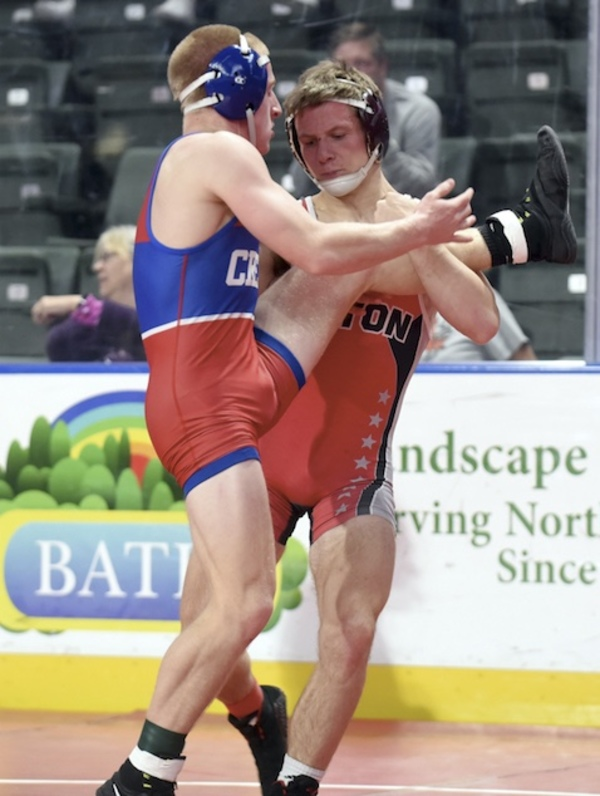 Eaton's Dylan Yancey grapples with Cherry Creek's Eddie Sutherland in a 138-pound match Dec. 14 at the Northern Colorado Christmas Tournament at the Budweiser Events Center in Loveland. (Photo by Joshua Polson)