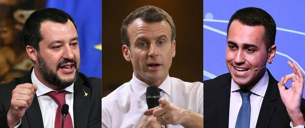 De hoofdrolspelers vice-premier Salvini, president Macron en vice-premier Di Maio (van links naar rechts)