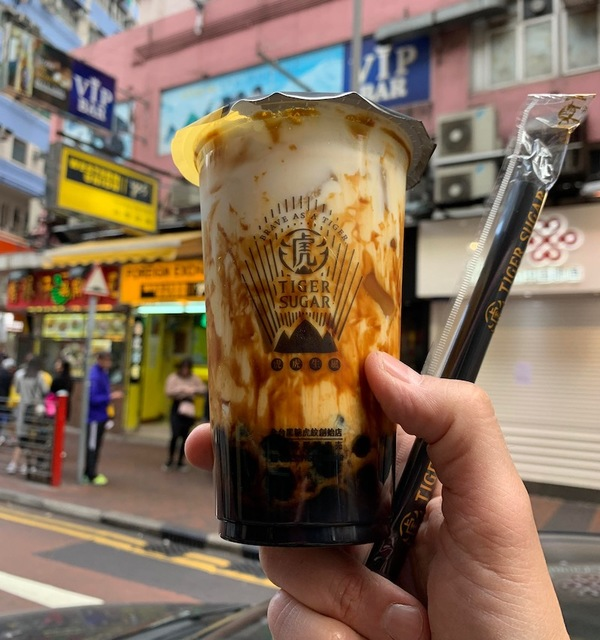 I was introduced to this in Taipei and happy to find it in HK - the ultimate boba drink: TIGER SUGAR
