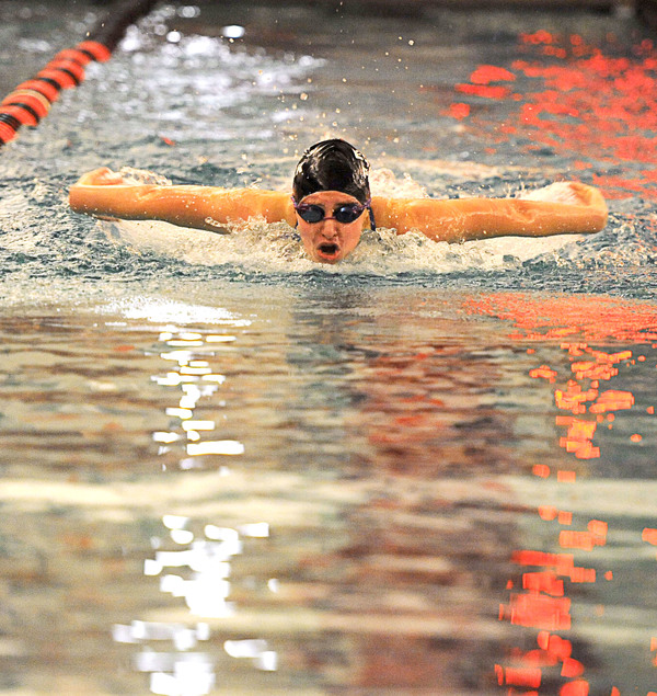 Estes Park's Abby Lemirande swims in the 100-yard butterfly in a dual against Berthoud on Nov. 27 at Loveland High School. (Photo by Joshua Polson)