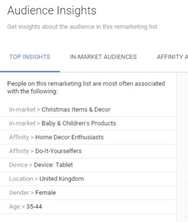 Bu örnek Kitle Trendleri raporu, bir satıcının yeniden pazarlama listesindeki tüketicilerin ayrıntılarını sunar. Kaynak: Search Engine Land