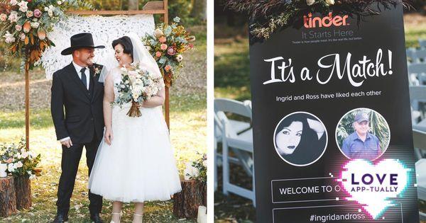 Tinder themed trouwen. Jawel.