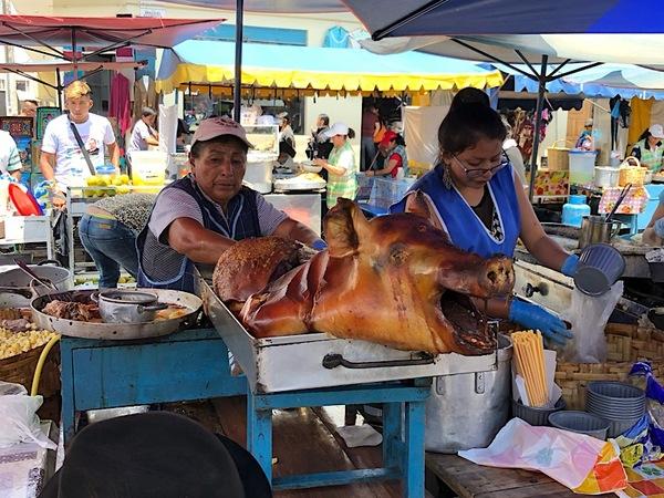 Ze verkochten niet alleen textiel op de markt van Otavalo.