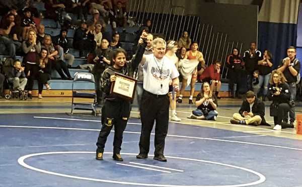 Valley junior Angel Rios is recognized during the Class 3A Region 2 wrestling tournament on Saturday in Kersey. (Photo by Bobby Fernandez)