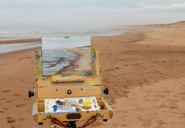 Terrill Welch plein air painting at Blooming Point PEI