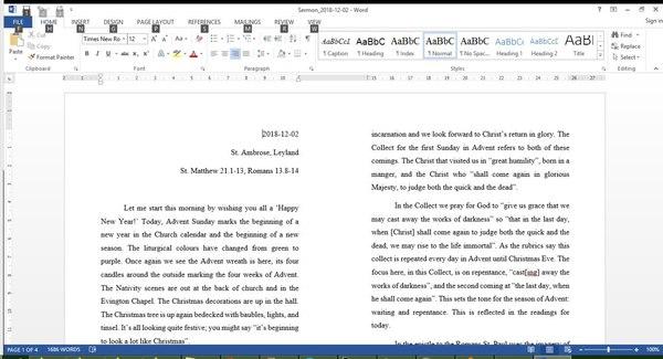 One of Alwyn's sermons, opened in Microsoft Word 2013