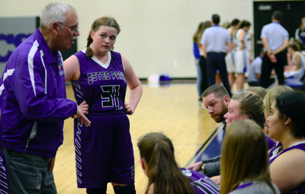 Estes Park's coach Michael Welch talks to his team during a timeout against Resurrection Christian on Feb. 12 at Resurrection Christian High School. (Photo by Quinn Ritzdorf)