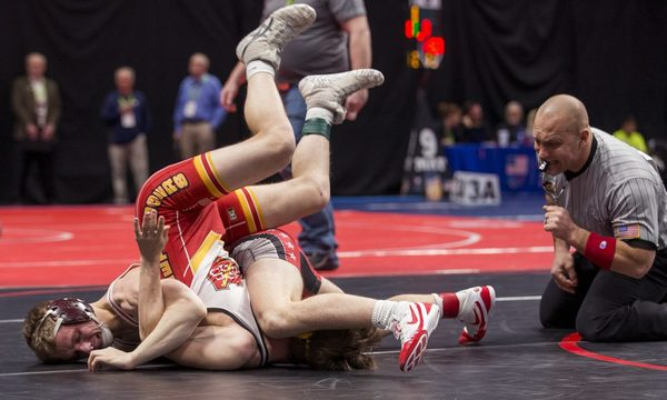 Eaton's Dylan Yancey tries to pin Brush's Hunter Ludgate on Thursday afternoon during the Class 3A Wrestling Championships at the Pepsi Center in Denver. (Michael Brian/mbrian@greeleytribune.com)