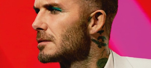 David Beckham slaying green eye shadow