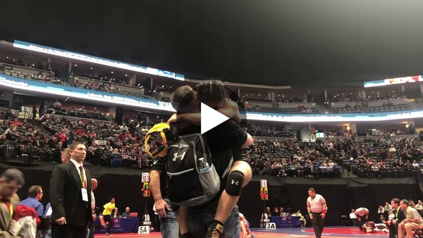 Angel Rios' reaction after her 4-2 sudden victory over Pagosa Springs' Trevor Torrez in the state wrestling consolation semis.