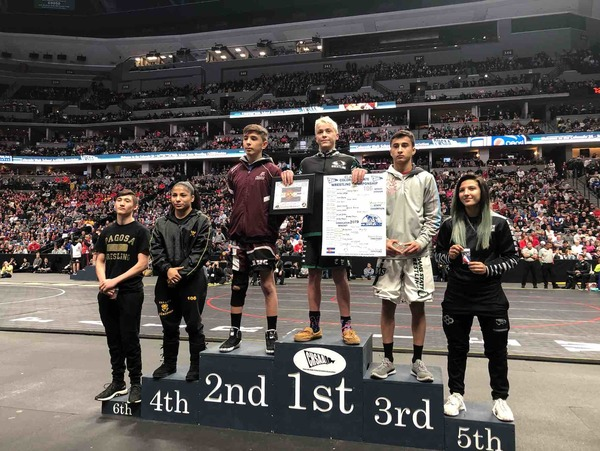 Valley's Angel Rios (4th) and Skyview's Jaslynn Gallegos (5th) make Colorado wrestling history by becoming the first girls to ever place at the boys' state tournament. (Photo by Quinn Ritzdorf)