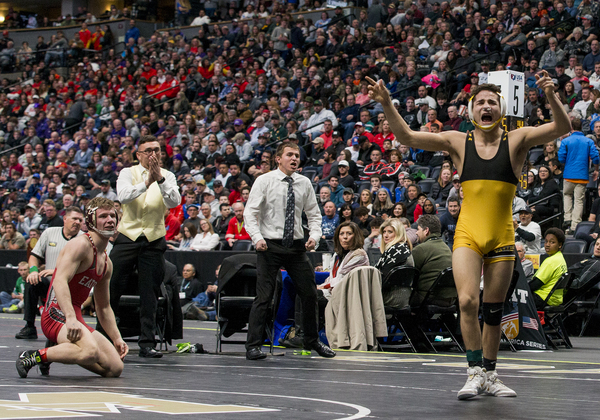 Valley's Isaiah Rios, right, defeated Eaton's Dylan Yancey for the 138-pound championship Saturday at the Class 3A Wrestling Championships at the Pepsi Center in Denver. (Michael Brian/mbrian@greeleytribune.com)