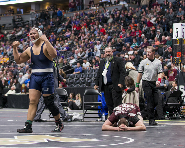 University's Emanuel Munoz-Alcala defeated Alamosa's Logan Thompson for the heavyweight championship Saturday at the Class 3A Wrestling Championships at the Pepsi Center in Denver. (Michael Brian/mbrian@greeleytribune.com)