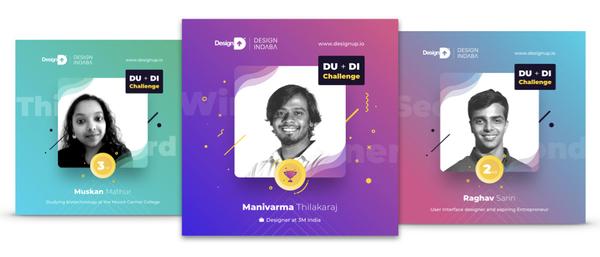 The winners of the DesignUp+DesignIndaba - Manivarma, Raghav and Muskan