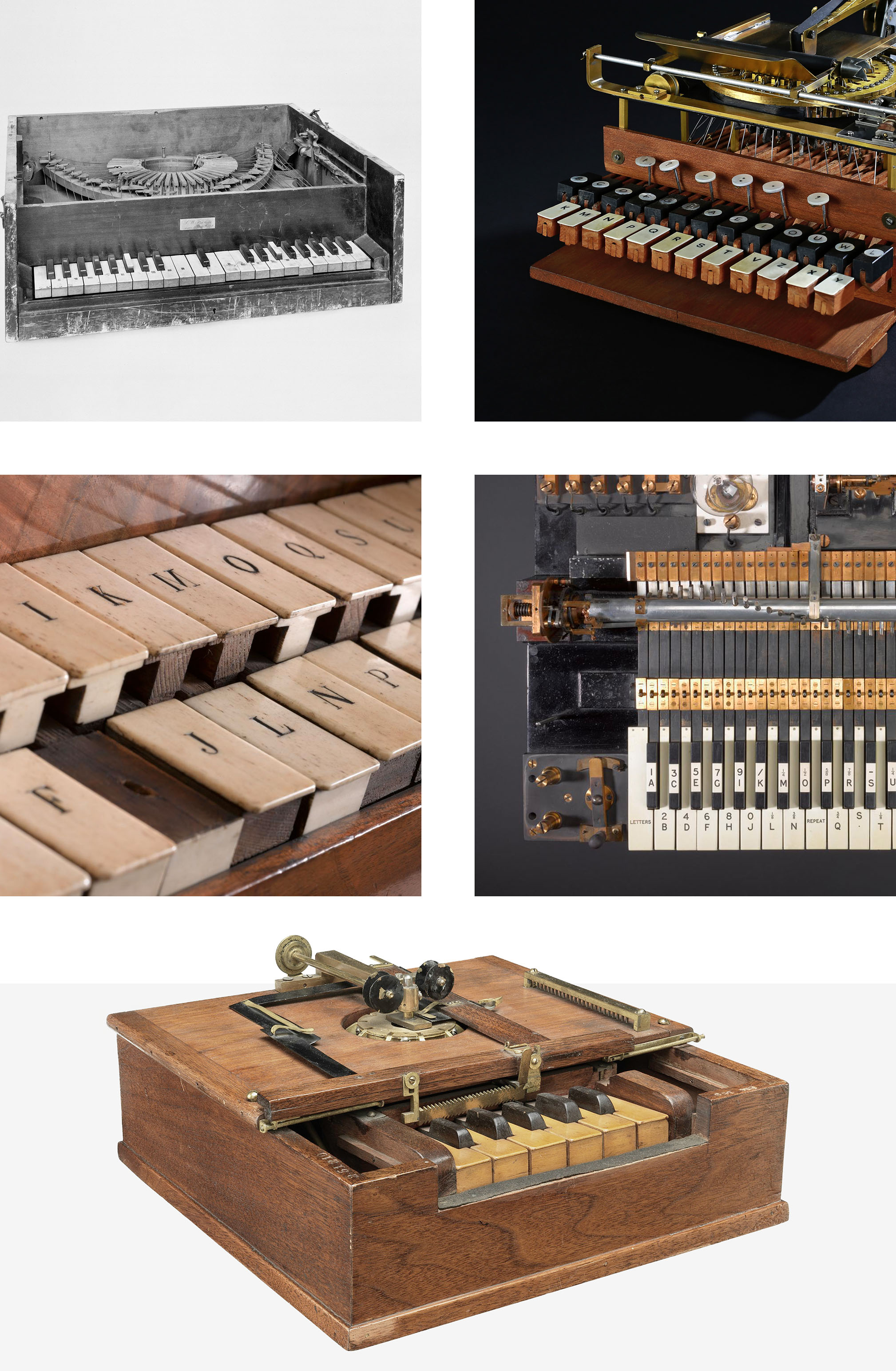 From top left: 1857 Francis Literary Piano, 1855 Cembalo Scrivano, 1840s transmitting keyboard, 1907 stock exchange printing telegraph