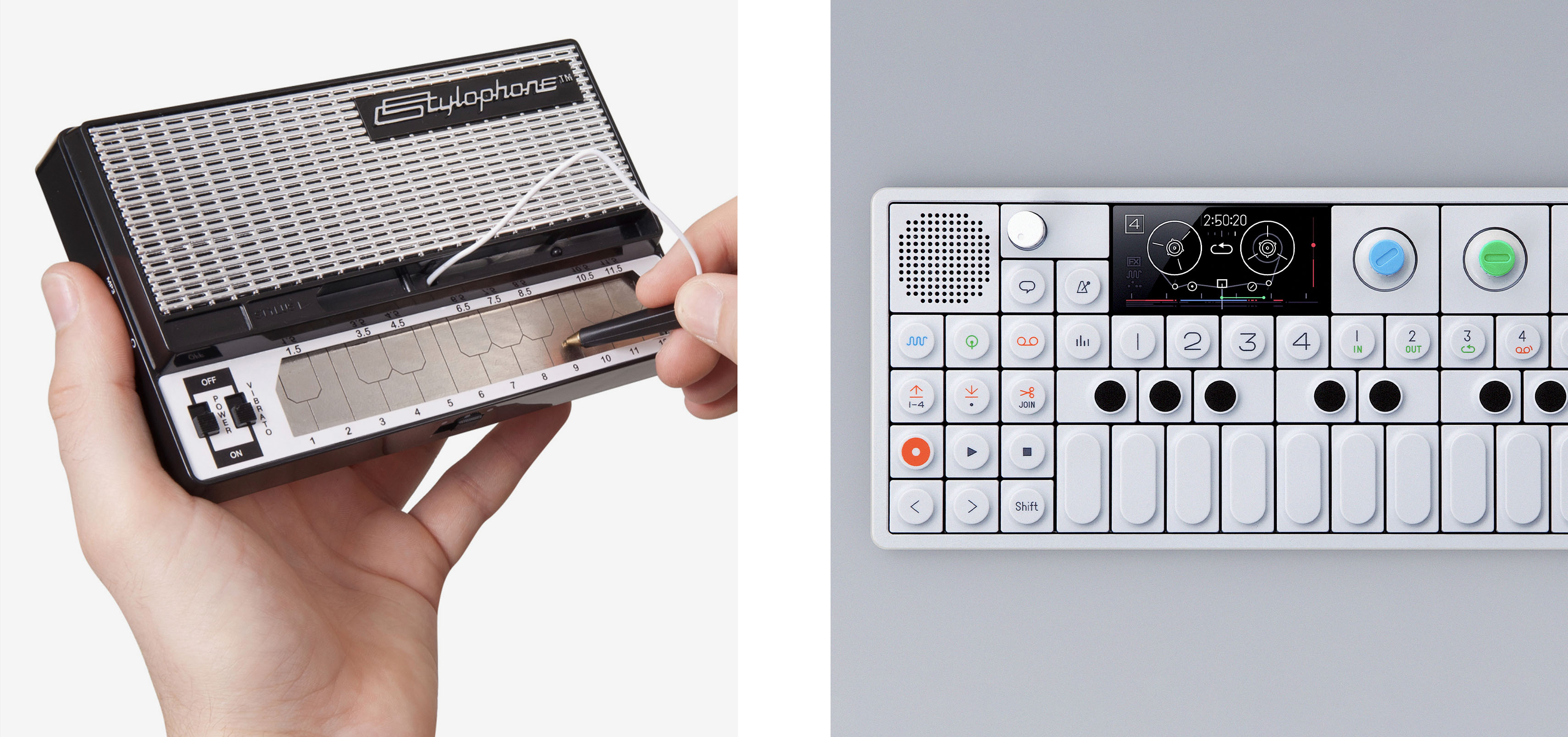 The stylophone, harkening back to last newsletter's Royal Digital, and a modern OP-1