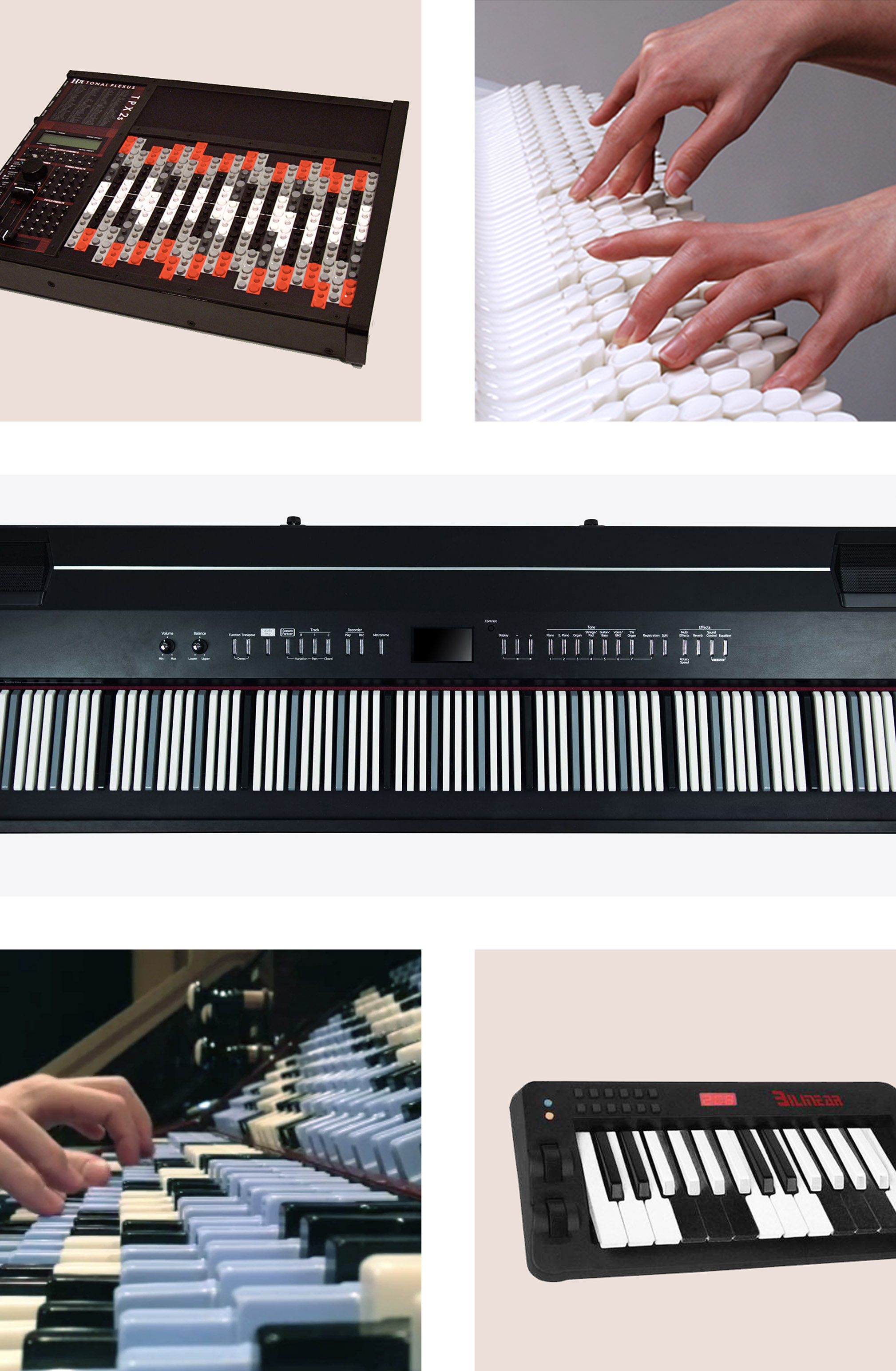 From top left: Tonal Plexus, Chromatone, Dodeka, Fokker Organ, and Bilinear Chromatic