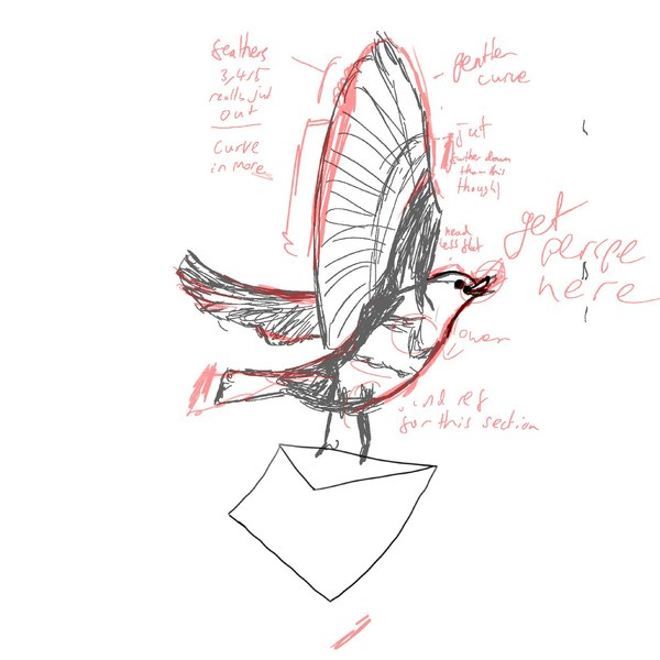 Elle's original digital sketch, annotated with notes