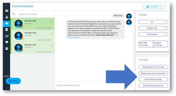New actions available in the Conversations module!
