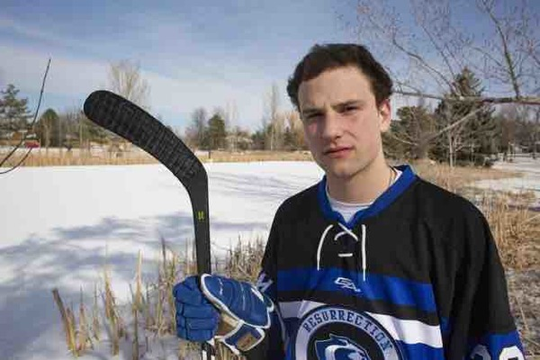 Resurrection Christian's senior hockey player, Michael Lewis. (Photo by Austin Humphreys/Reporter-Herald)