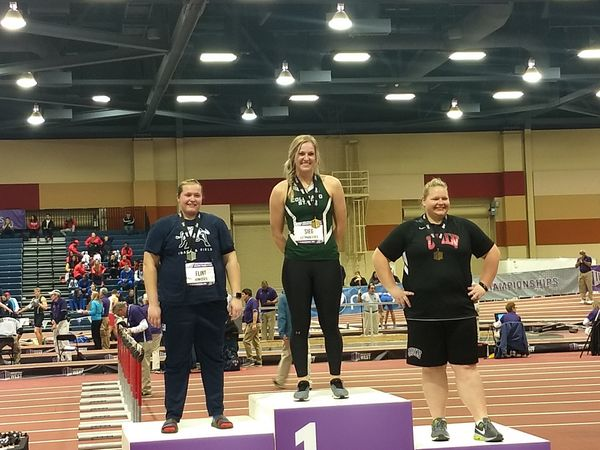 Eaton alum and Colorado State sophomore Tarynn Sieg, middle, placed first in women's shot put in the Mountain West Conference Indoor Track and Field Championships this past weekend. (Courtesy/Tim Sieg)