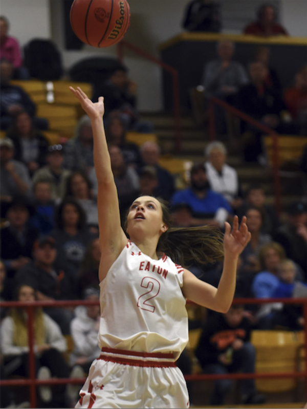 Eaton's Bailie Duncan shoots a layup against Platte Valley on Jan. 11 at Eaton High School. (Photo by Joshua Polson)