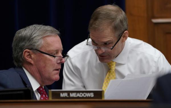 De Republikeinse Congresleden Mark Meadows en Jim Jordan (foto: Reuters)