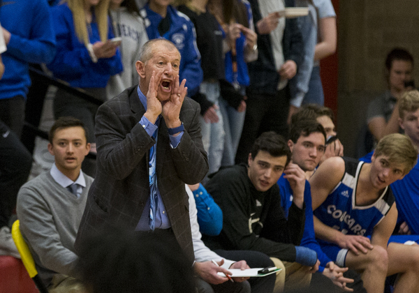 Resurrection Christian coach Bruce Dick shouts to his team during the Class 3A Boys Basketball Championships against Manual on Thursday at Hamilton Gym in Denver. (Michael Brian/mbrian@greeleytribune.com)