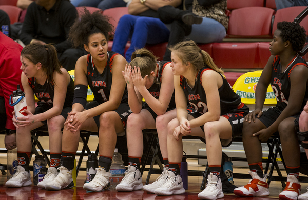 Eaton players express disappointment from the bench Friday, as they lost 54-20 to St. Mary's during the Class 3A Girls Basketball Championships semifinals in the Hamilton Gym in Denver. (Michael Brian/mbrian@greeleytribune.com)