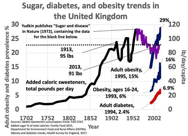 Vo Veľkej Británii sa v roku 2013 zjedlo 41,3 kila cukru na osobu a rok, obéznych bolo 26 %  populácie. V roku 1913 to bolo 43 kg/osoba/rok pričom obezita bola extrémne vzácna.