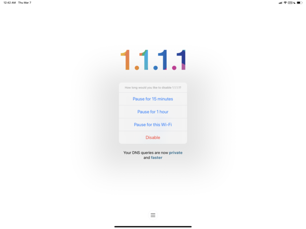 The 1.1.1.1 VPN app for iOS can pause your VPN session for a set amount of time