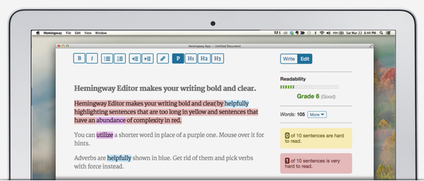 Hemingway Editor - an editing tool that makes your writing bold and clear.