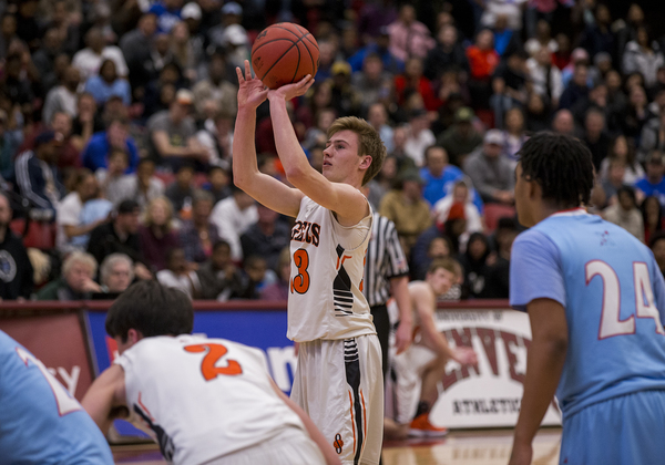 Sterling's Carter Keil shoots a free throw against Manual on Friday in the semifinals of the Class 3A Boys Basketball Championships at the University of Denver's Hamilton Gymnasium. (Michael Brian/mbrian@greeleytribune.com)