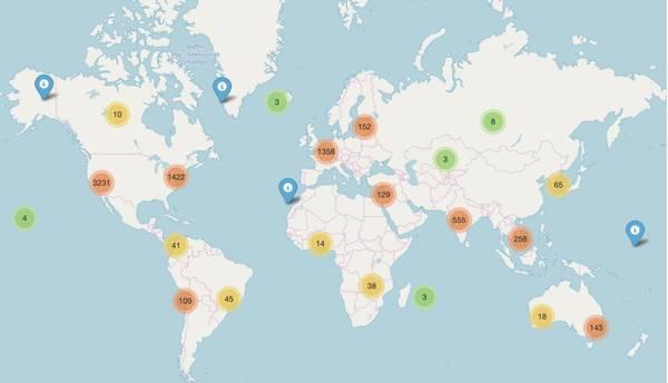 A world map of AI startups.