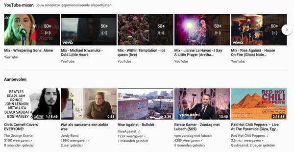 Mijn YouTube-mixen en aanbevelingen: ja, ik ben een 'ouwe zak' en 'bekijk' vooral muziek.