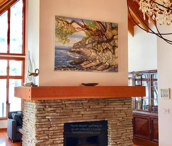 A Terrill Welch painting in an art collector's home