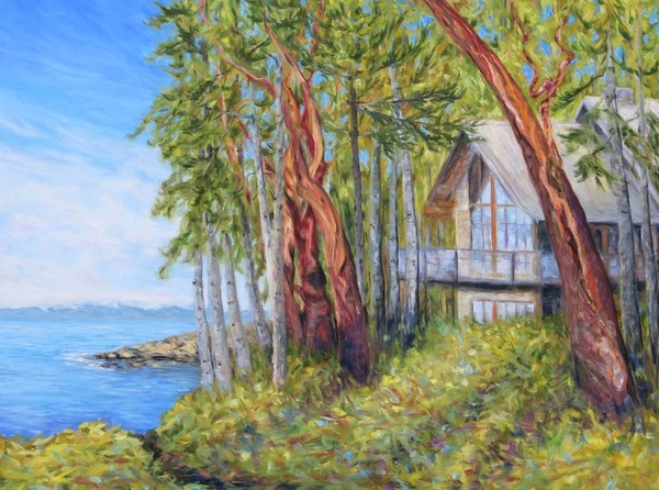 Sailing Through the Trees by Terrill Welch, walnut oil on canvas, 30 x 40 inches