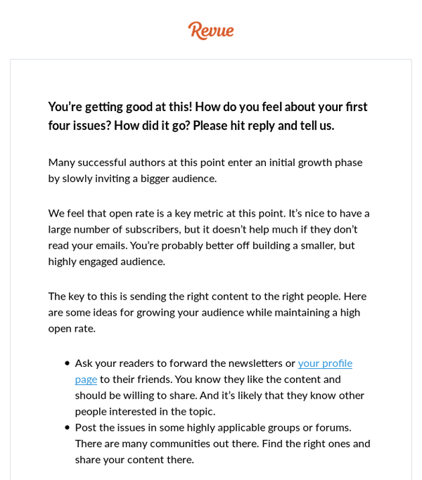 One of Revue's automated emails. I received this after last week's issue of Real Users Club was delivered.