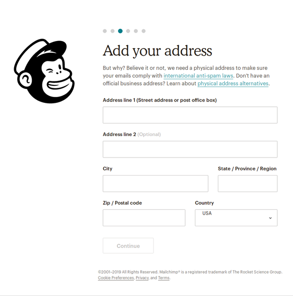 Page three of six of MailChimp's onboarding flow, asking for my full postal address