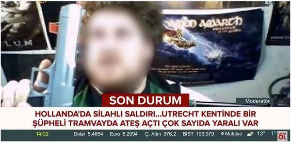 Valse daderfoto: screenshot (geblurd) van Turkse zender TV24