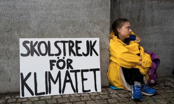 Greta Thunberg on strike. Photograph: Michael Campanella/The Guardian