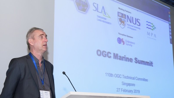 Trevor Taylor opening the First OGC Marine Summit.