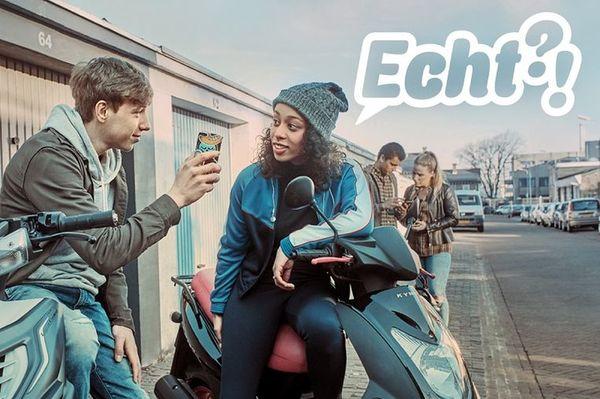 Beeld uit de campagnevideo van de overheid om mensen te waarschuwen voor nepnieuws.