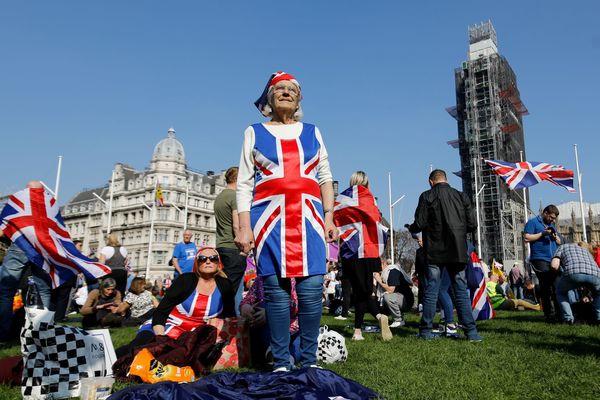 Pro-brexit-demonstranten in Londen