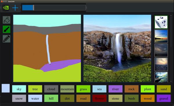 A waterfall landscape drawn using Nvidia's image generator (Nvidia).