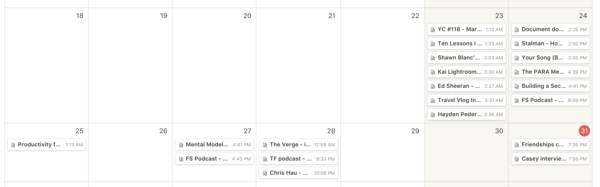 The same database in calendar view