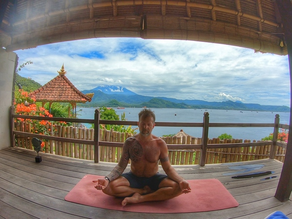 Breathing deeply in Bali, with an active volcano overlooking