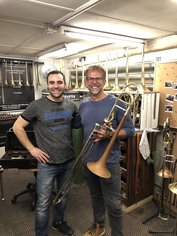 Picking up my 1980s trombone after refurbishment in Geneva