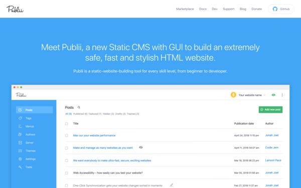 Publii: Static CMS & Generator for HTML Sites [Live Demo] - Snipcart